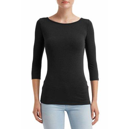Women`s Stretch 3/4 Sleeve Tee in Black von Anvil (Artnum: A2455L