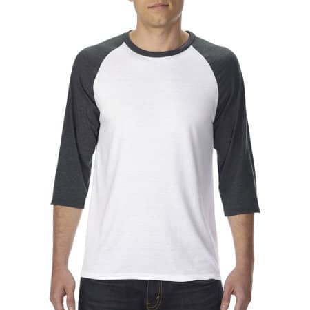 Tri-Blend 3/4 Sleeve Raglan Tee in Black|White von Anvil (Artnum: A6755