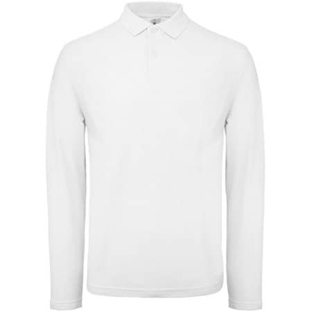 Long Sleeve Polo ID001 / Unisex in White von B&C (Artnum: BCPUI12
