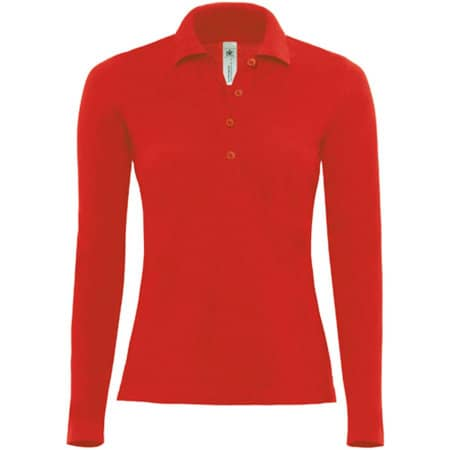 Polo Safran Pure Longsleeve / Women in Red von B&C (Artnum: BCPW456