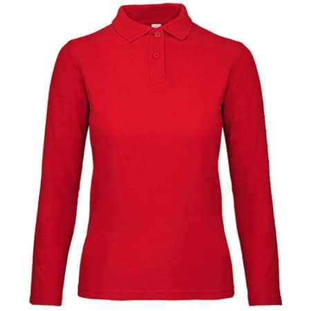 Long Sleeve Polo ID001 / Women in Red von B&C (Artnum: BCPWI13