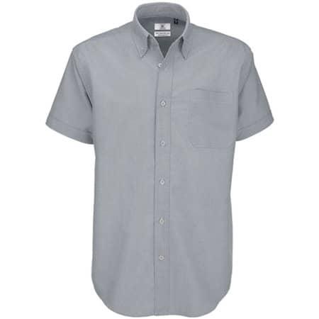 Shirt Oxford Short Sleeve /Men in Silver Moon (Heather) von B&C (Artnum: BCSMO02