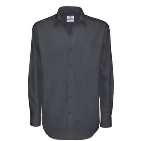 Twill Shirt Sharp Long Sleeve / Men in Dark Grey (Solid) von B&C (Artnum: BCSMT81