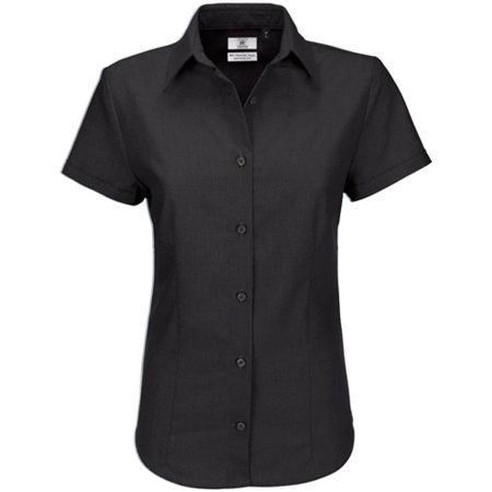 Oxford Shirt Short Sleeve / Women in Black von B&C (Artnum: BCSWO04