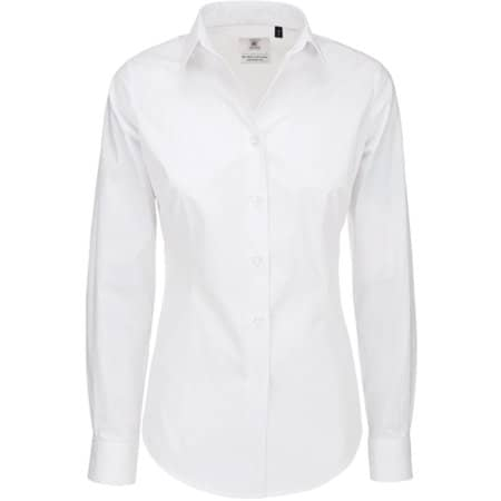Poplin Shirt Black Tie Long Sleeve / Women in White von B&C (Artnum: BCSWP23
