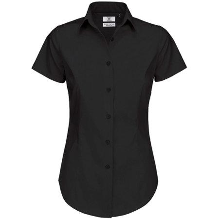 Poplin Shirt Black Tie Short Sleeve / Women in Black von B&C (Artnum: BCSWP24