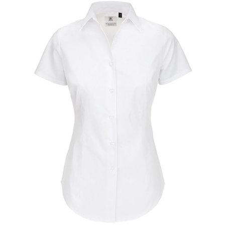 Poplin Shirt Black Tie Short Sleeve / Women in White von B&C (Artnum: BCSWP24