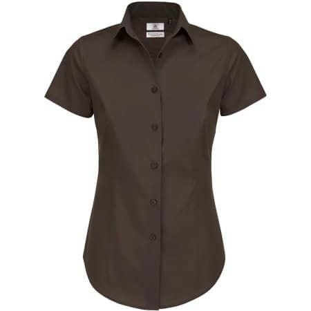 Poplin Shirt Black Tie Short Sleeve / Women von B&C (Artnum: BCSWP24