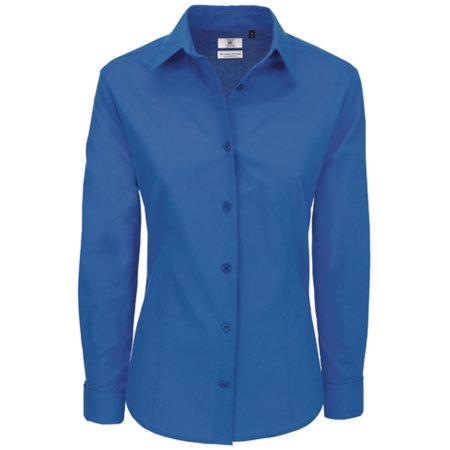 Poplin Shirt Heritage Long Sleeve / Women in Blue Chip von B&C (Artnum: BCSWP43