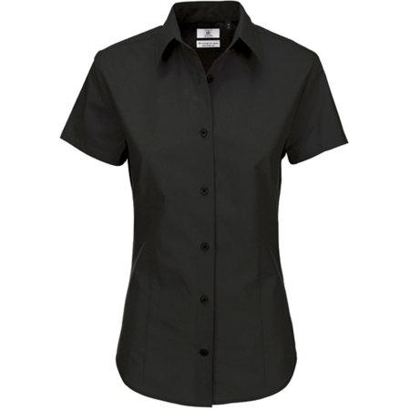 Poplin Shirt Heritage Short Sleeve / Women in Black von B&C (Artnum: BCSWP44