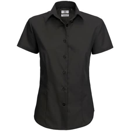Poplin Shirt Smart Short Sleeve / Women in Black von B&C (Artnum: BCSWP64