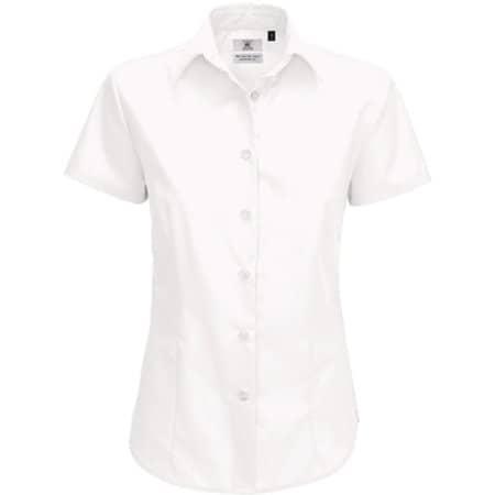 Poplin Shirt Smart Short Sleeve / Women in White von B&C (Artnum: BCSWP64