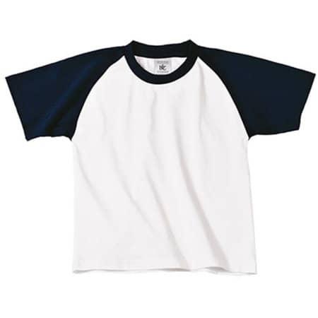T-Shirt Base-Ball / Kids in White|Navy von B&C (Artnum: BCTK350