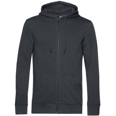 Organic Zipped Hood Jacket in Asphalt von B&C (Artnum: BCWU35B