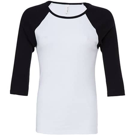 3/4-Sleeve Contrast Raglan T-Shirt in White|Black von Bella (Artnum: BL2000