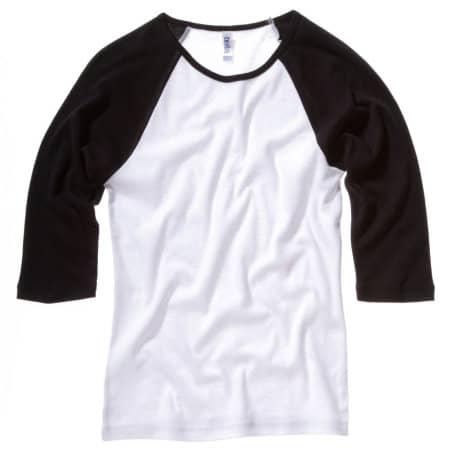 3/4-Sleeve Contrast Raglan T-Shirt von Bella (Artnum: BL2000