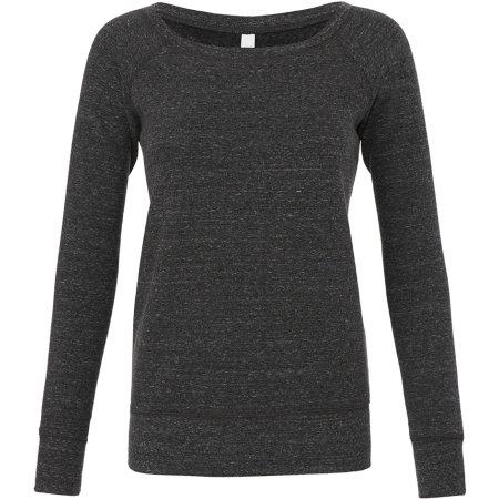 Women`s Sponge Fleece Wide Neck Sweatshirt in Charcoal-Black Triblend (Heather) von Bella (Artnum: BL7501