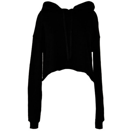 Women´s Cropped Fleece Hoodie in Black von Bella (Artnum: BL7502