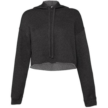 Women´s Cropped Fleece Hoodie in Dark Grey Heather von Bella (Artnum: BL7502