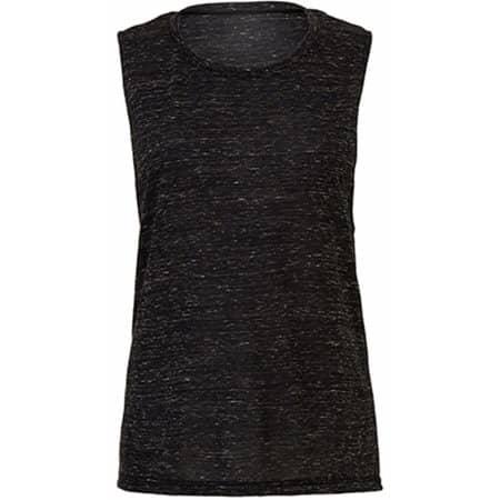 Women`s Flowy Scoop Muscle T-Shirt in Marble Black (Heather) von Bella (Artnum: BL8803