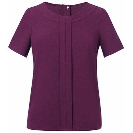 Women`s Verona Short Sleeve Blouse in Burgundy von Brook Taverner (Artnum: BR803