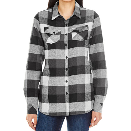 Women`s Woven Plaid Flannel Shirt in Black Check von Burnside (Artnum: BU5210