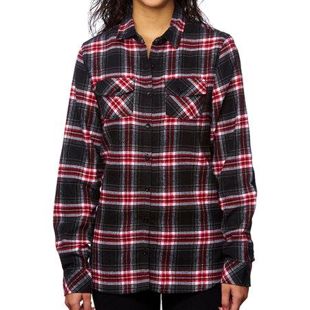 Women`s Woven Plaid Flannel Shirt in Red Check von Burnside (Artnum: BU5210