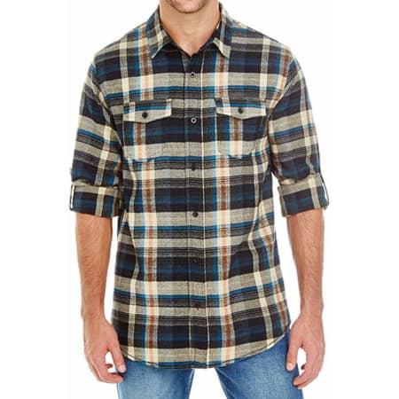 Woven Plaid Flannel Shirt in Khaki Check von Burnside (Artnum: BU8210