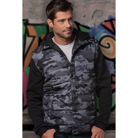 Hooded Fleece Sleeved Puffer Vest von Burnside (Artnum: BU8701