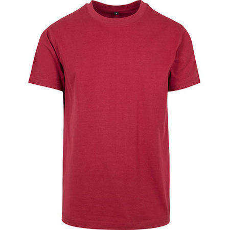 T-Shirt Round Neck in Burgundy von Build Your Brand (Artnum: BY004