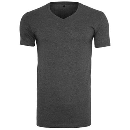 Light T-Shirt V-Neck in Charcoal (Heather) von Build Your Brand (Artnum: BY006