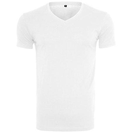 Light T-Shirt V-Neck in White von Build Your Brand (Artnum: BY006