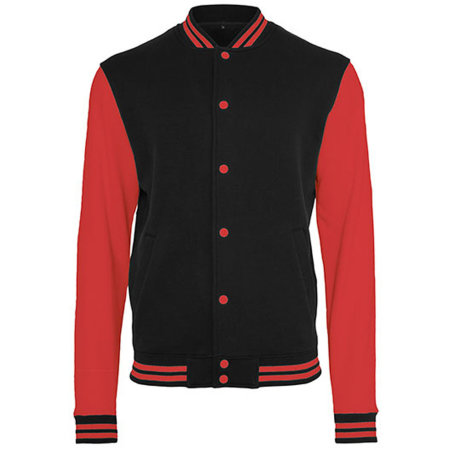 Sweat College Jacket in Black|Red von Build Your Brand (Artnum: BY015