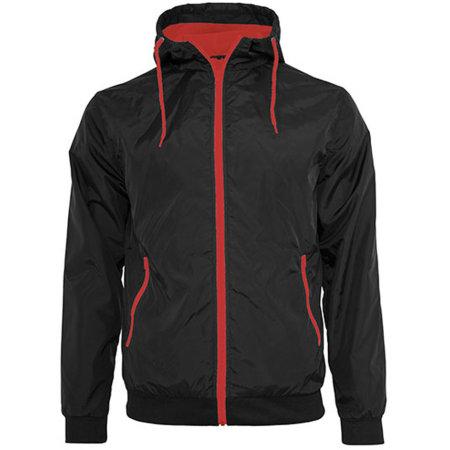 Windrunner Jacket in Black|Red von Build Your Brand (Artnum: BY016