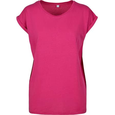 Ladies` Extended Shoulder Tee in Hibiskus Pink von Build Your Brand (Artnum: BY021