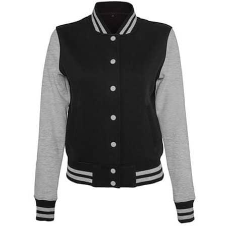 Ladies` Sweat College Jacket in Black|Heather Grey von Build Your Brand (Artnum: BY027