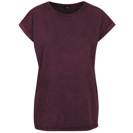 Ladies` Acid Washed Extended Shoulder Tee in Berry Black von Build Your Brand (Artnum: BY053