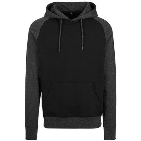Raglan Hoody in Black Charcoal (Heather) von Build Your Brand (Artnum: BY077