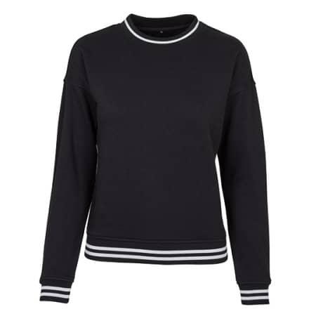 Ladies College Sweat Crew in Black|White von Build Your Brand (Artnum: BY105