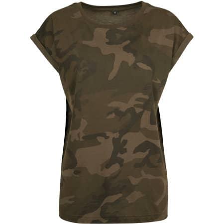 Ladies Camo Extended Shoulder Camo Tee von Build Your Brand (Artnum: BY112