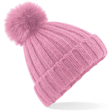 Verbier Fur Pom Pom Chunky Beanie in Dusky Pink von Beechfield (Artnum: CB413