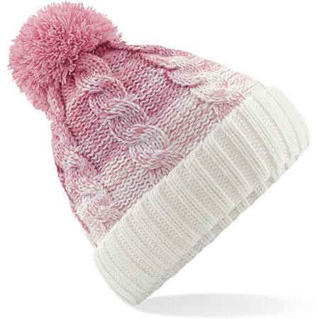 Ombré Beanie in Dusky Pink|Off White von Beechfield (Artnum: CB459