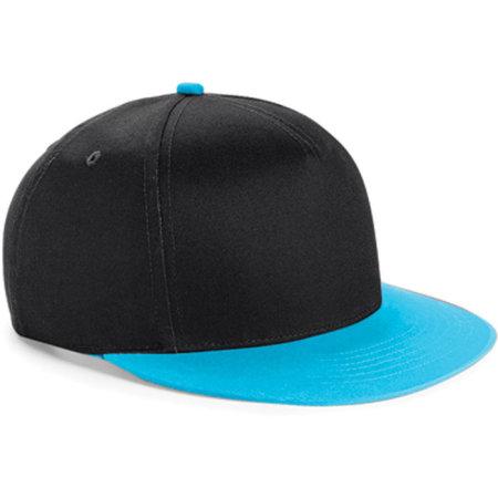 Youth Size Snapback in Black|Surf Blue von Beechfield (Artnum: CB615