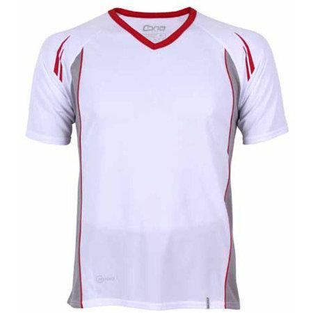 Club Tech Tee in White|Red von CONA SPORTS (Artnum: CN120