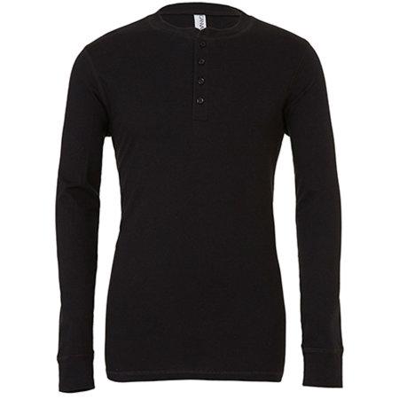 Jersey Long Sleeve Henley in Black von Canvas (Artnum: CV3150