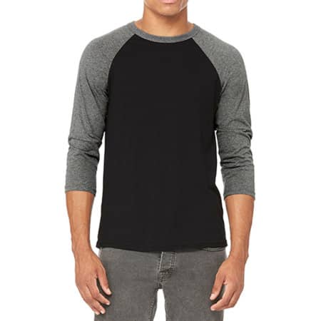 Unisex 3 / 4 Sleeve Baseball T-Shirt in Black|Deep Heather von Canvas (Artnum: CV3200
