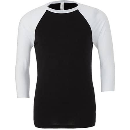 Unisex 3 / 4 Sleeve Baseball T-Shirt in Black|White von Canvas (Artnum: CV3200