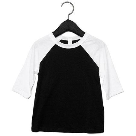 Toddler 3/4 Sleeve Baseball Tee in Black|White von Canvas (Artnum: CV3200T