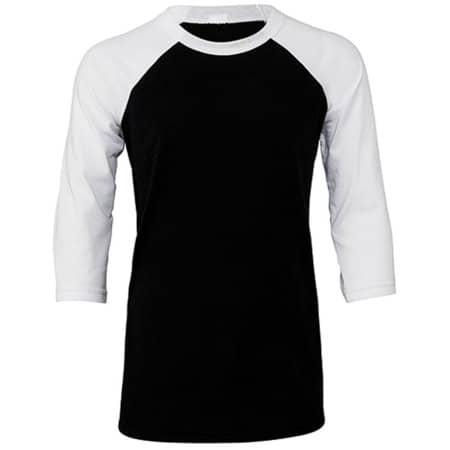 Youth 3/4 Sleeve Baseball Tee in Black|White von Canvas (Artnum: CV3200Y