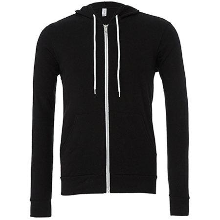 Unisex Zip-Up Poly-Cotton Fleece Hoodie in Black von Canvas (Artnum: CV3739